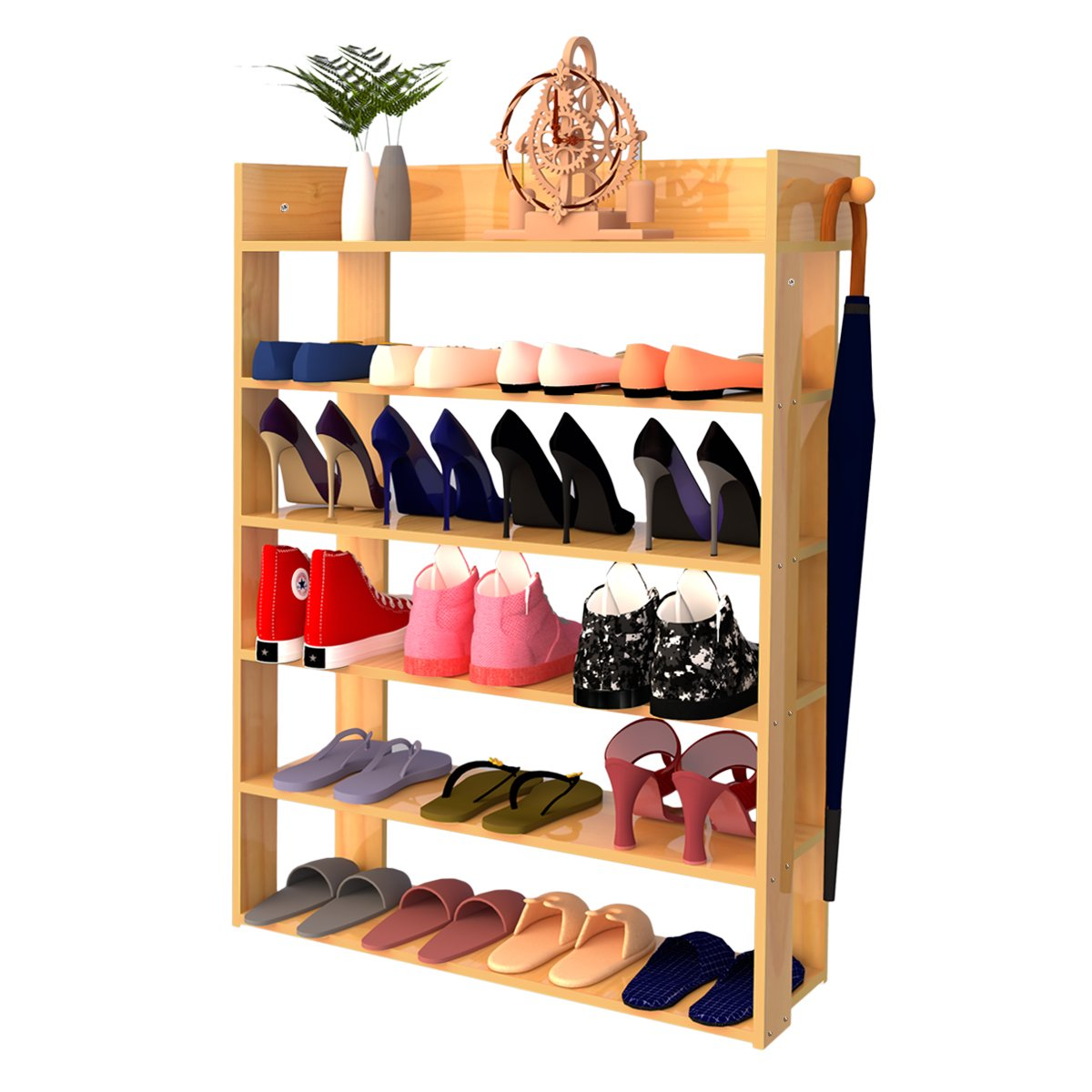 H&A 6 Tiers Natural Wood Shoe Rack Organizer Environment-friendly Shoe Storage Cabinet