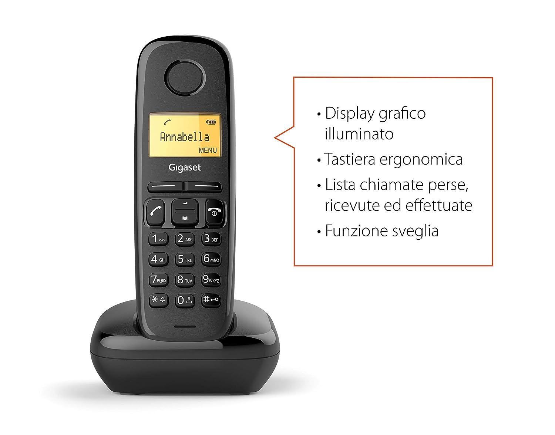 Gigaset A170 Analog/DECT Telephone Negro Identificador de Llamadas - Teléfono (Analog/DECT Telephone, Terminal inalámbrico, 50 entradas, Identificador ...