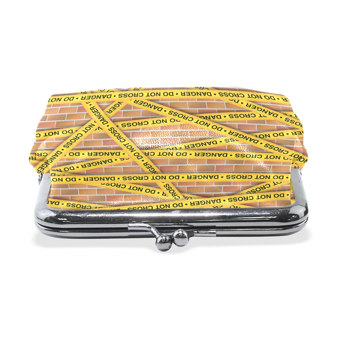 LALATOP Yellow Police Lines Collection Womens Coin Pouch Purse wallet Card Holder Clutch Handbag