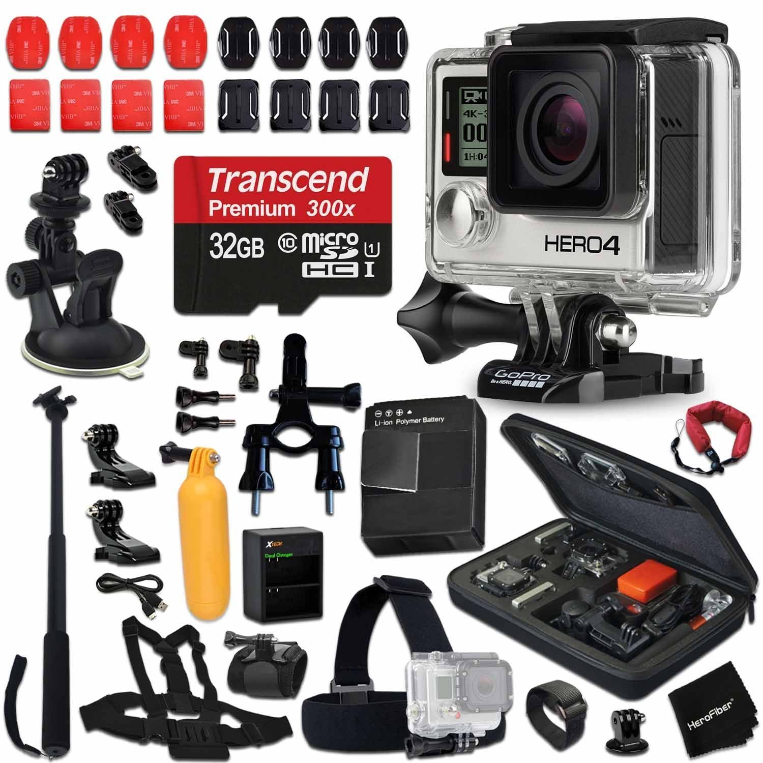 GoPro Hero 4 BLACK Edition Camera KIT + 32GB High-Speed Memory Card + AHDBT-401 Battery + Dual charger + Custom Fitted Case + Car Mount + Head Strap + Chest Strap + Selfie Stick + Bike Mount + MORE by HeroFiber