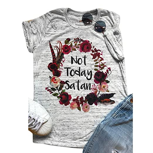 0b75f4ed ZMLIA Womens Short Sleeve T-Shirt Not Today Satan Letters Printed Causal Graphic  Tees Size