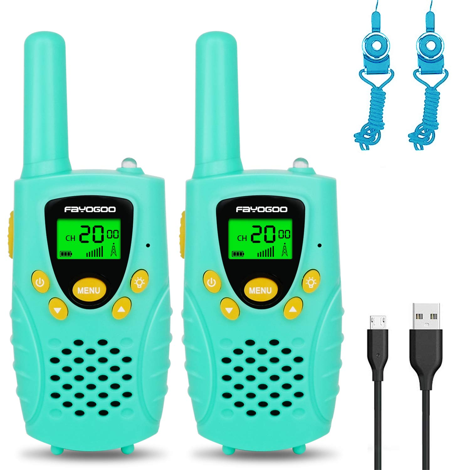 FAYOGOO Kids Walkie Talkies, 22-Channel FRS/GMRS Radio, 4-Mile Range Two Way Radios with Flashlight and LCD Screen, and Toys for 3-12 Year Old Boys and Girls (Mint Green) by FAYOGOO
