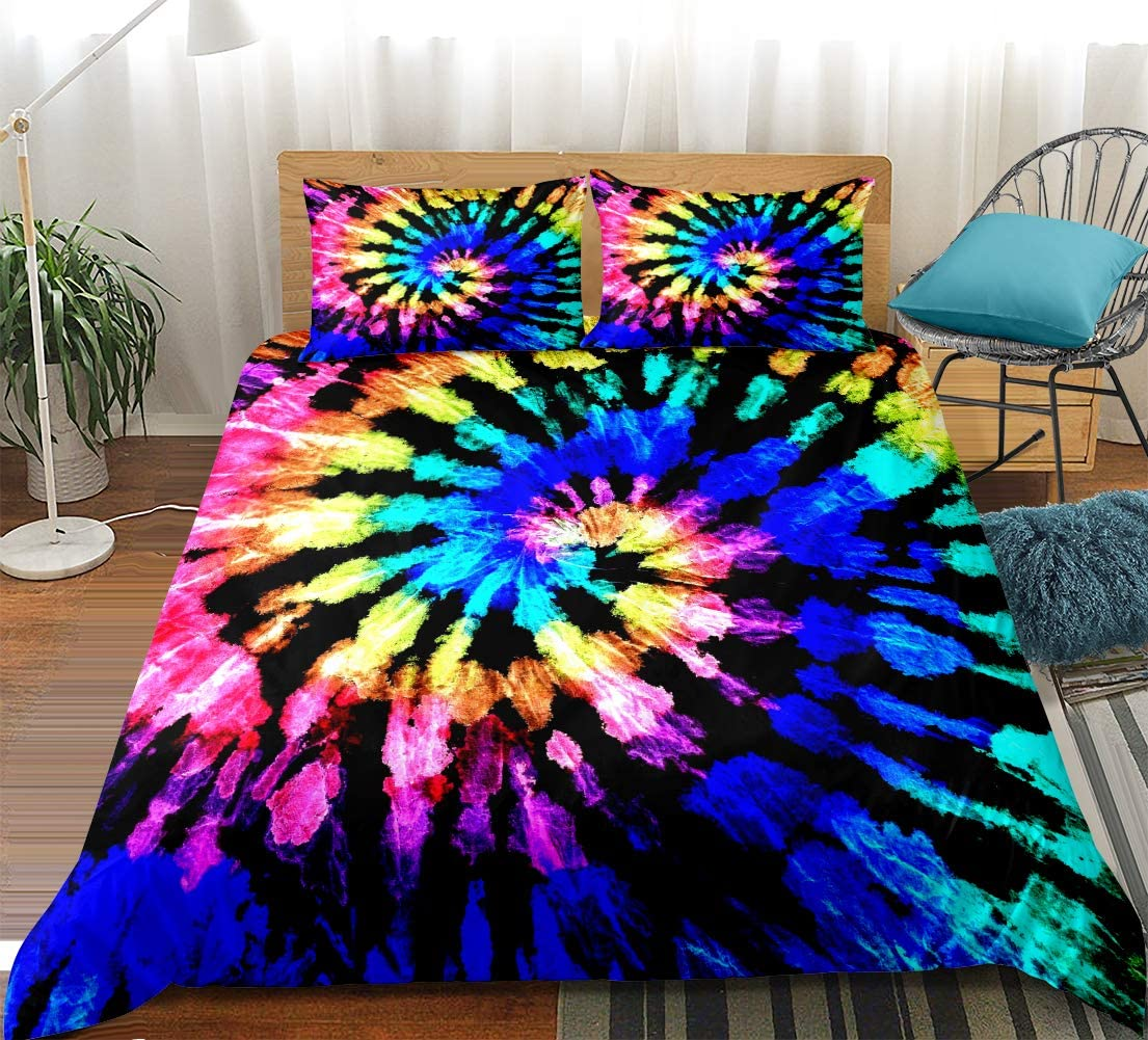 Twin BlessLiving Rainbow Tie Dye Bedding Colorful Tie Dyed Duvet Cover Set 3 Piece Boho Hippie Bedding Sets Orange Blue Green Psychedelic Swirl Pattern Printed Comforter Cover for Boys Girls