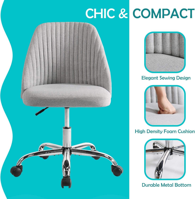 Rimiking Home Office Modern Twill Fabric Adjustable Mid-Back Task Ergonomic Executive Chair, Gray: Furniture & Decor