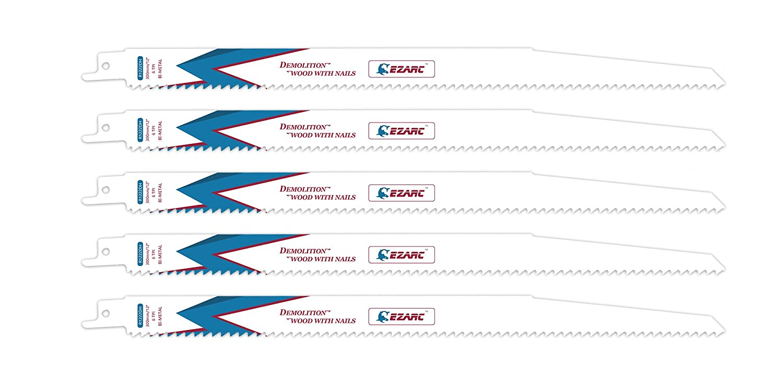 EZARC Hojas de sierra sable R622DH para multiusos Demolició n madera y clavo 150mm 6TPI (pack de 5)