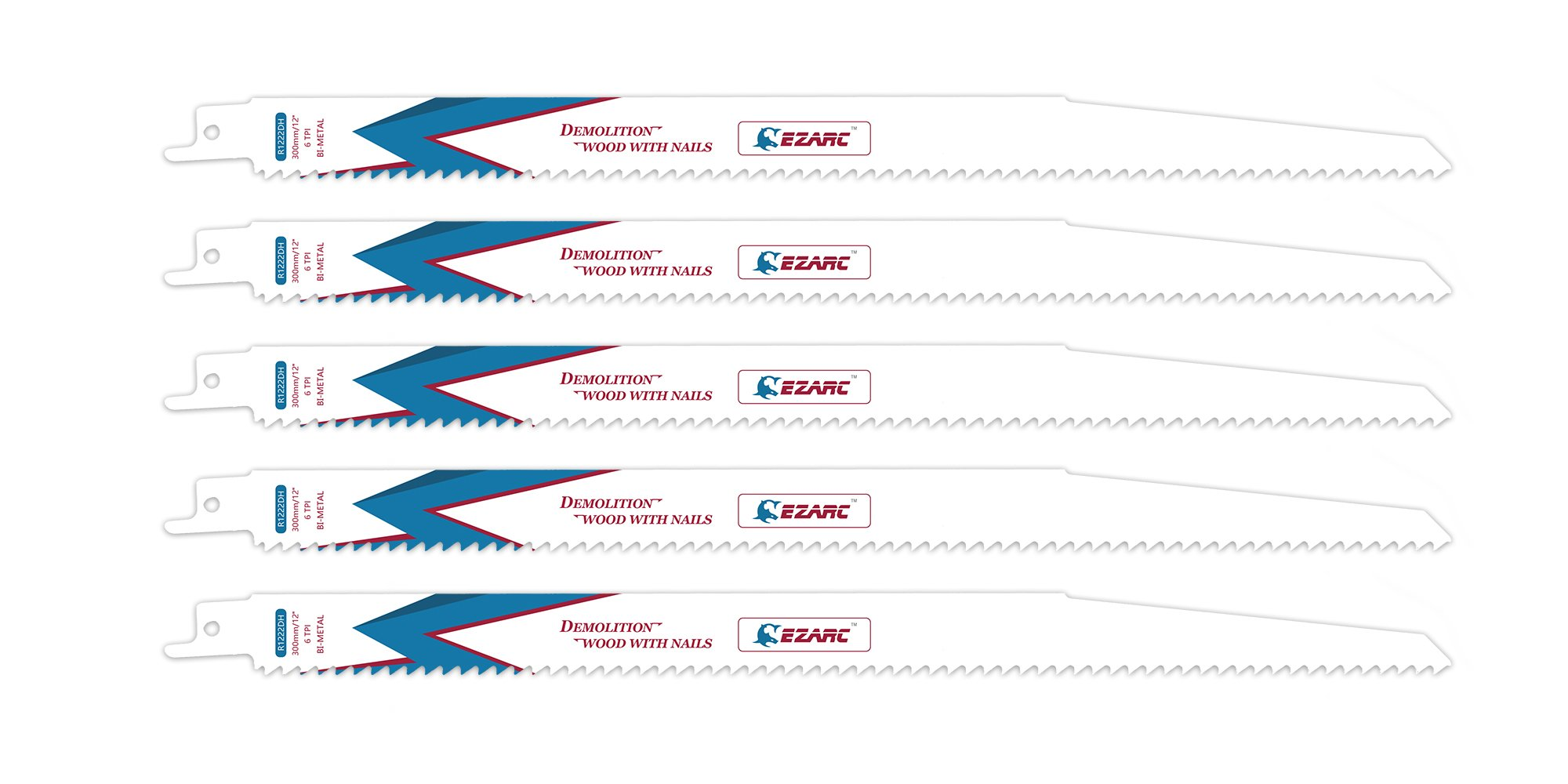 EZARC Reciprocating Saw Blade Nail Embedded Wood Demolition 12-Inch 6TPI R1222DH (5-Pack)