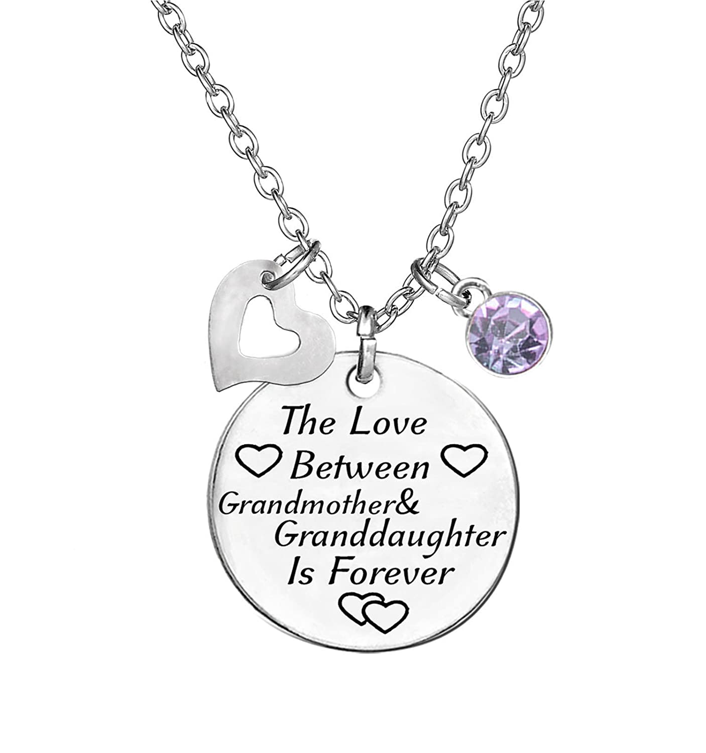 TISDA Birthstone Crystals Necklace, The Love between Grandmother and Granddaughter is Forever Necklace Family Jewelry Christmas Gift