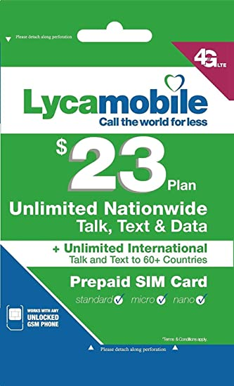 Lycamobile Preloaded Sim Card with 23 Plan Plan for 30 days