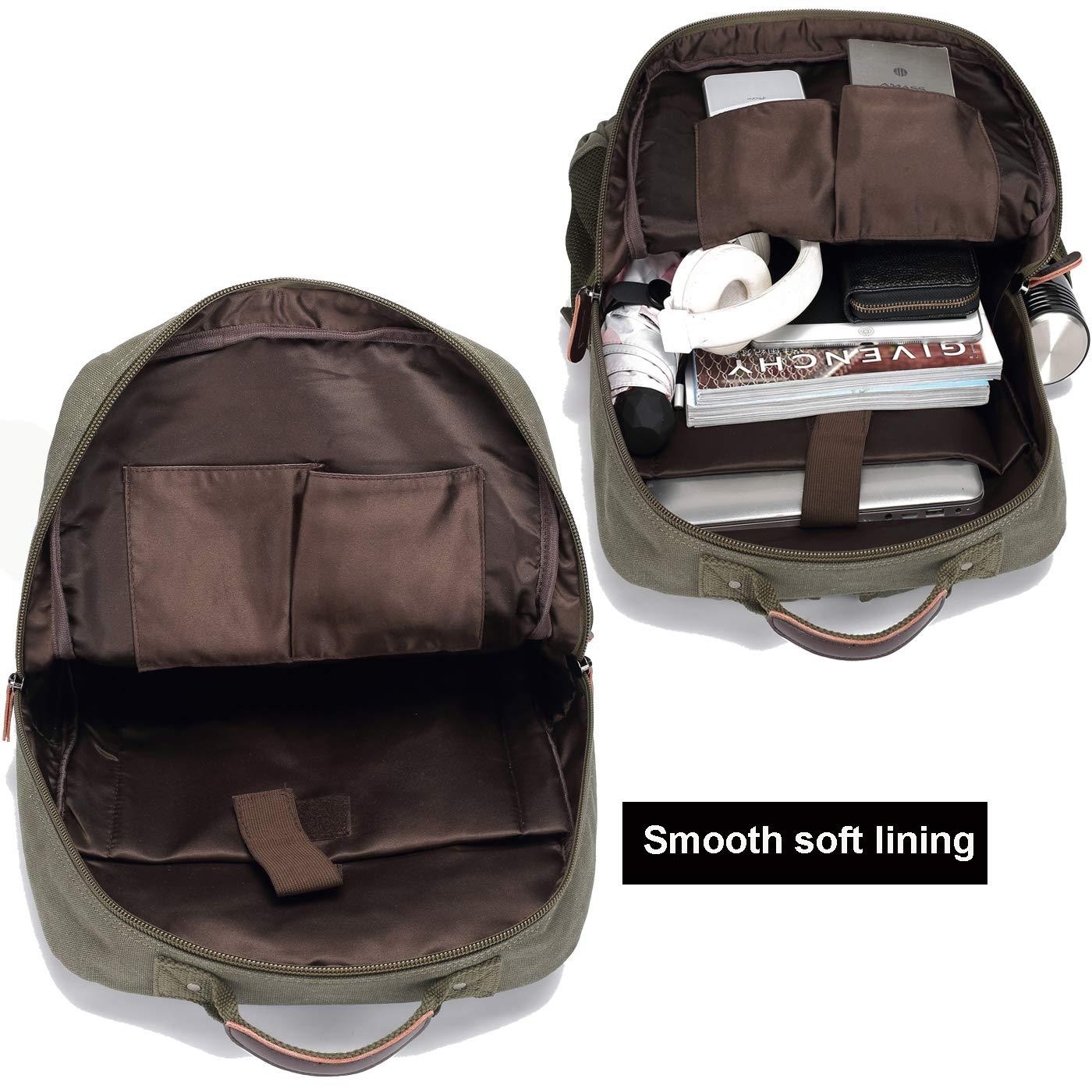 School Backpack Vintage Canvas Laptop Backpacks Men Women Rucksack Bookbags (Army Green) by CAMTOP (Image #2)