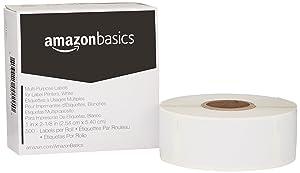 AmazonBasics Multi-Purpose Labels for Label Printers, White, 1'' x 2-1/8'', 500 Labels per Roll, 1 Roll