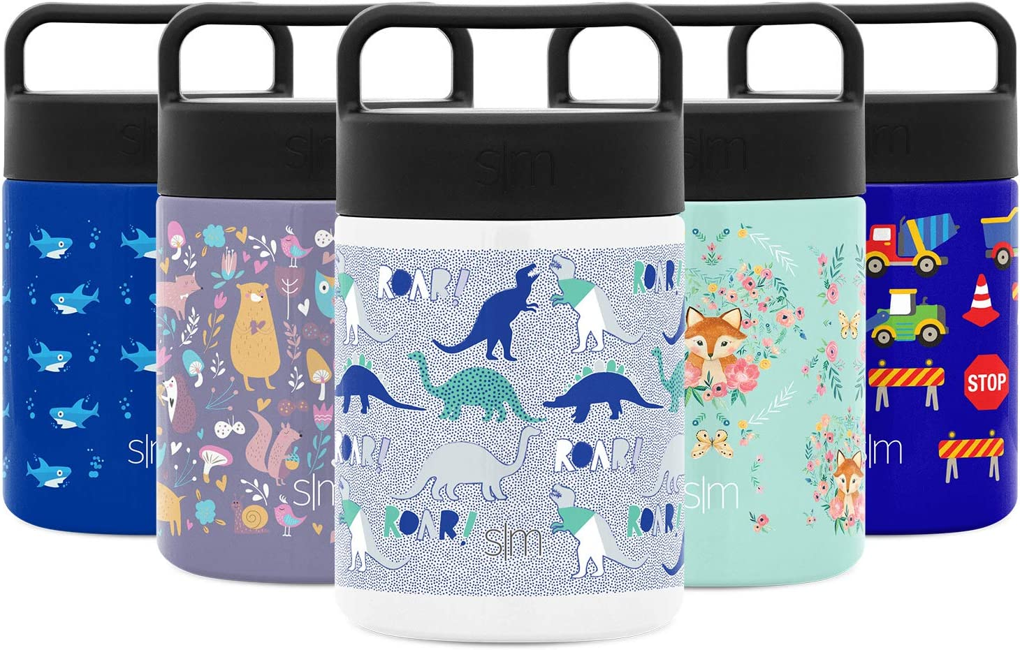 Simple Modern Provision Insulated Food Jar Thermos Leak Proof Stainless Steel Storage Lunch Container, 12oz with Handle Lid, Kids: Dinosaur Roar