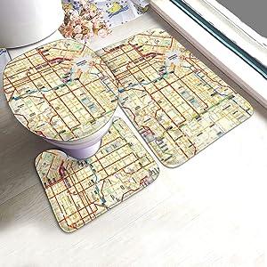 USA Los Angeles City Bus Subway Map Bathroom Rug Mats Set 3 Piece, Non Slip Shower Bath Rug, Contour Mat, Toilet Lid Cover