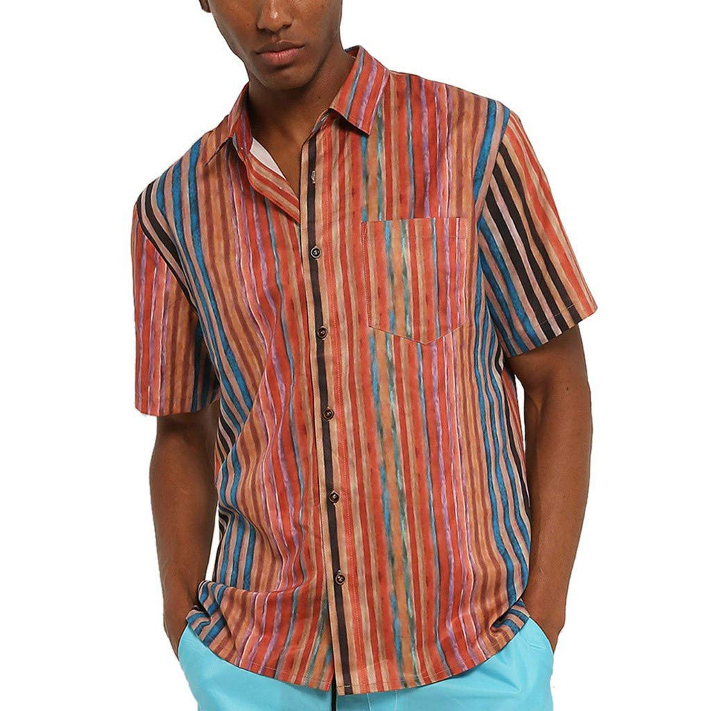 Men/'s Loose Fit Colorful Stripe Printed Shirt Casual Short Sleeve Shirt-Regular Fit Button Down Shirt with Pocket