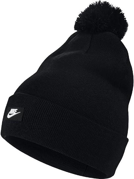 low cost b2a15 a58bd netherlands nike sportswear unisex removable pom knit beanie hat black  white 6a96e d05f0
