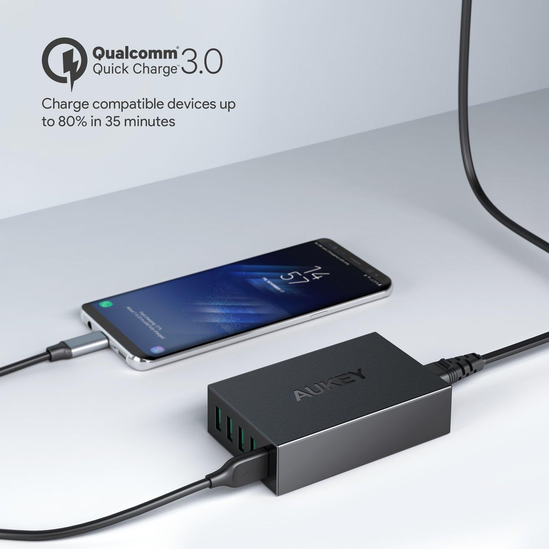 AUKEY Quick Charge 3.0 Cargador USB Multiple 55,5W Cargador de Red 5 Puertos para Samsung Galaxy S9/ S8, LG G5 / G6, Google Pixel, Nexus 5X / 6P, ...