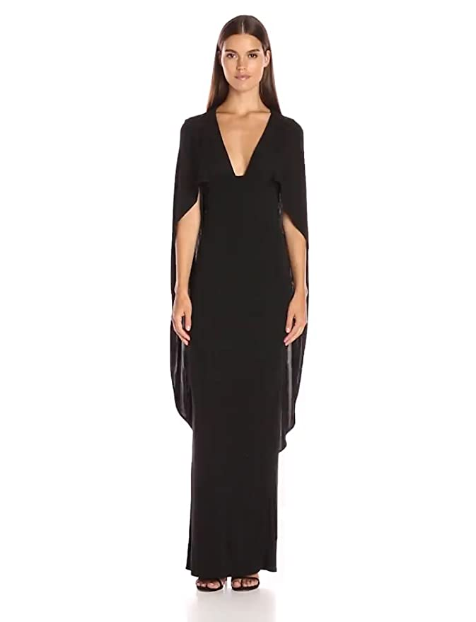 27188f0b9e0 Amazon.com  ABS Allen Schwartz Women s Cape Gown with Deep-V Front in Matte  Jersey  Clothing