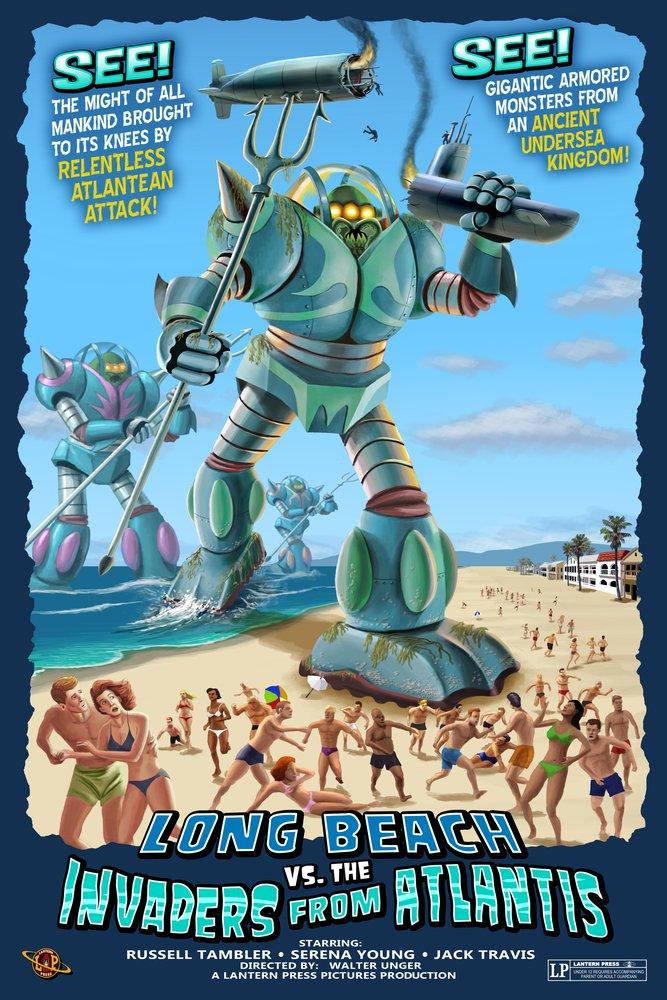 ロングビーチ、カリフォルニア – Atlantean Invaders 36 x 54 Giclee Print LANT-43570-36x54 B017EA00JE  36 x 54 Giclee Print