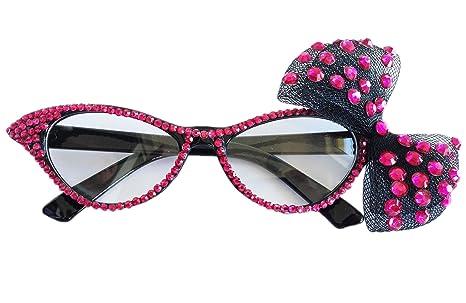 Bipy occhio di gatto stile da festa da donna moda strass banchetto classica occhiali da vista W/garza fiocchi, confezione da 1 Pink