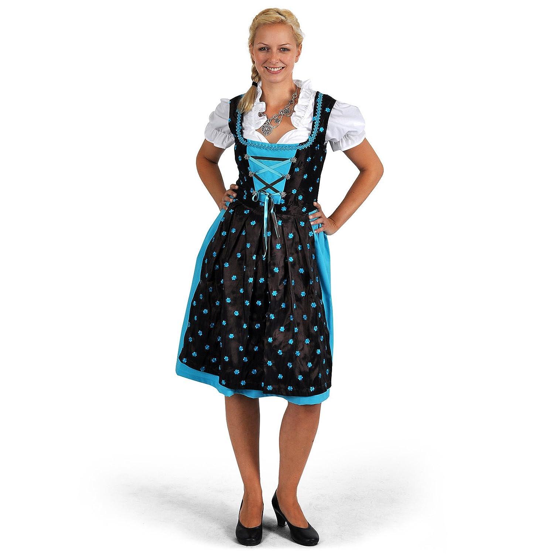 Dirndl Trachten Kleid Damen Midi mit Schürze türkis/braun Edelweißknöpfe Blusen Bustier perfekt zum Oktoberfest
