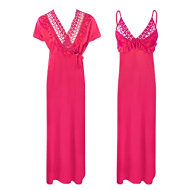 f7e2271d38 Womens Satin LACE Ladies Long Nightdress Nighty Chemise LACE Detailed 8-14-Fuchsia-One  Size  Regular (8-14)  Amazon.co.uk  Clothing