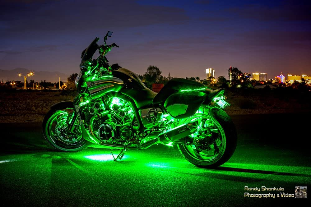 4 Flexible Strips w//Remote Motorcycle LED Neon Accent Glow Kit 36 lights
