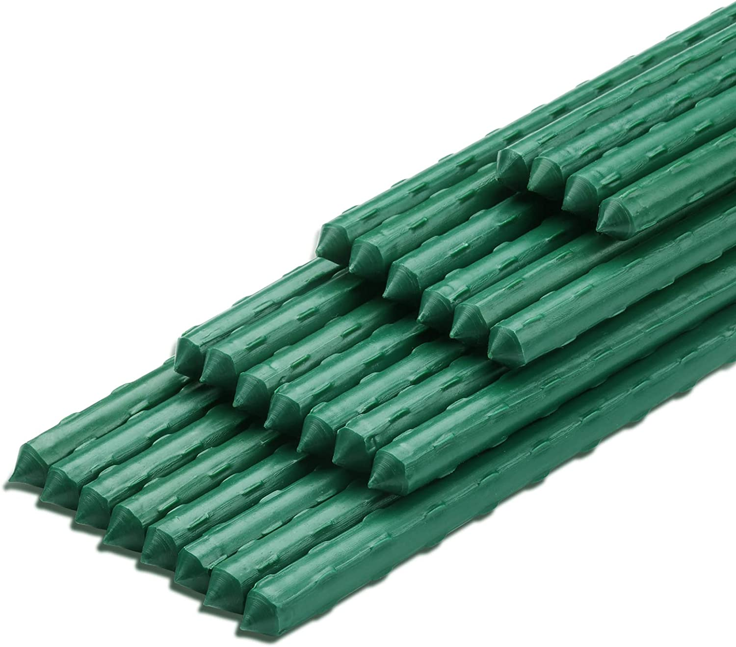 Ativia 4FT 25PCS Garden Stakes Plant Support, Steel Tube & Plastic Coated Sturdy Metal Sticks Plants Supporter for Gardening Tomato Cucumber Strawberry Bean Tree Vegetables (25 Pack-48 Inches, Green)