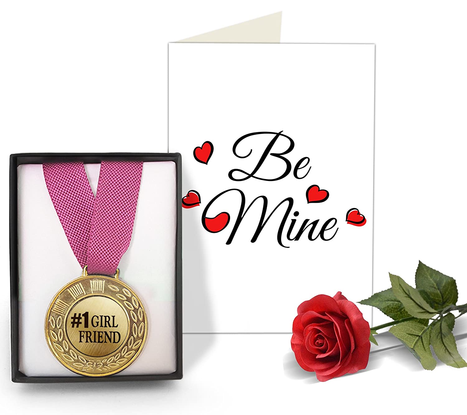 TIED RIBBONS Golden Medal with Greeting Card and Artificial