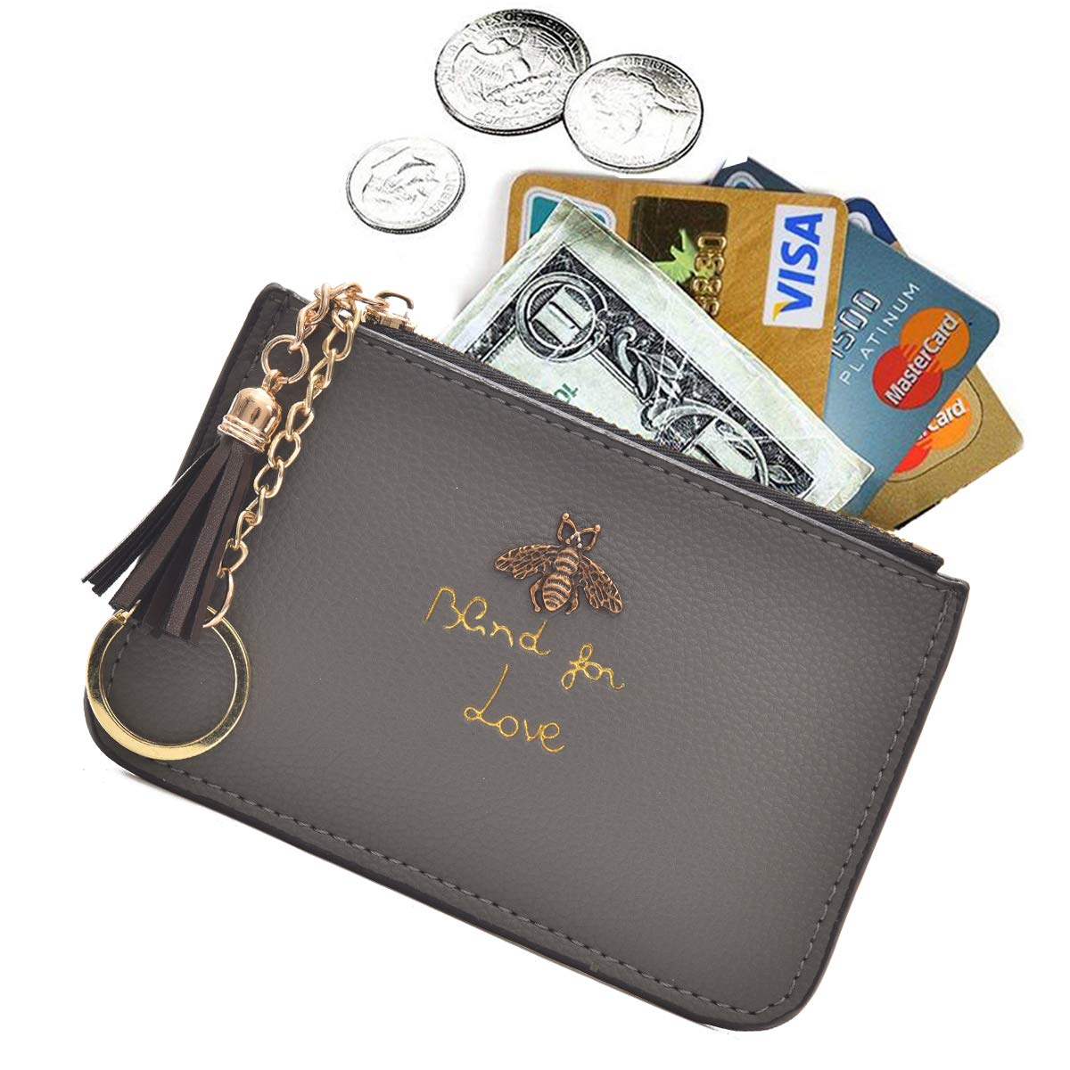 c1f1576565dd AnnabelZ Women s Coin Purse Change Wallet Pouch Leather Card Holder with Key  Chain Tassel Zip