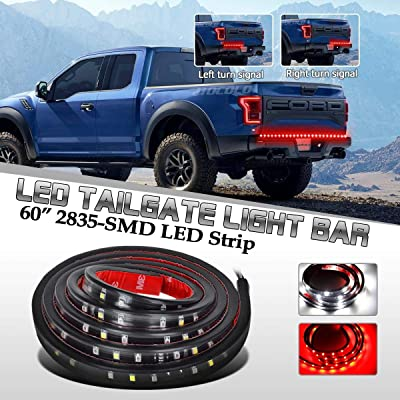 "HOCOLO 60"" LED Tailgate Light Bar Truck Tail Light LED Strip Red/White Reverse Brake Turn Signal Light Universal for Jeep Chevy GMC Ford Dodge Ram Pickup Trucks RV SUV: Automotive"