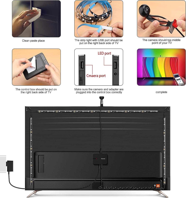 Tira LED TV con Cámara, Minger Lluminación de Retroiluminación LED ...