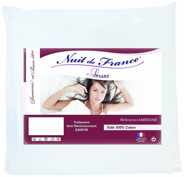 Nuit de France 329368 90 Prot/ège Traversin Coton Blanc 90 x 45 x 1 cm