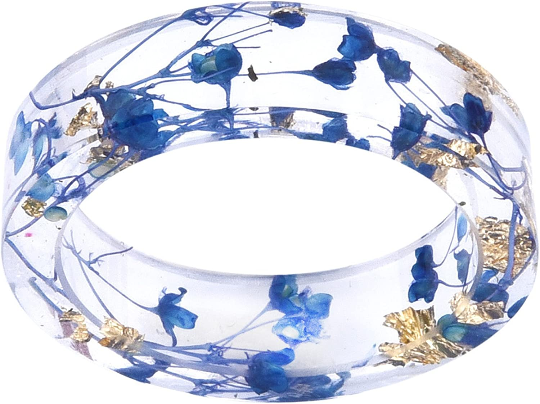 kingfishertrade-ltd Handmade Blue Color Dried Flowers Transparent Resin/Plastic Women/Men's Charm Ring