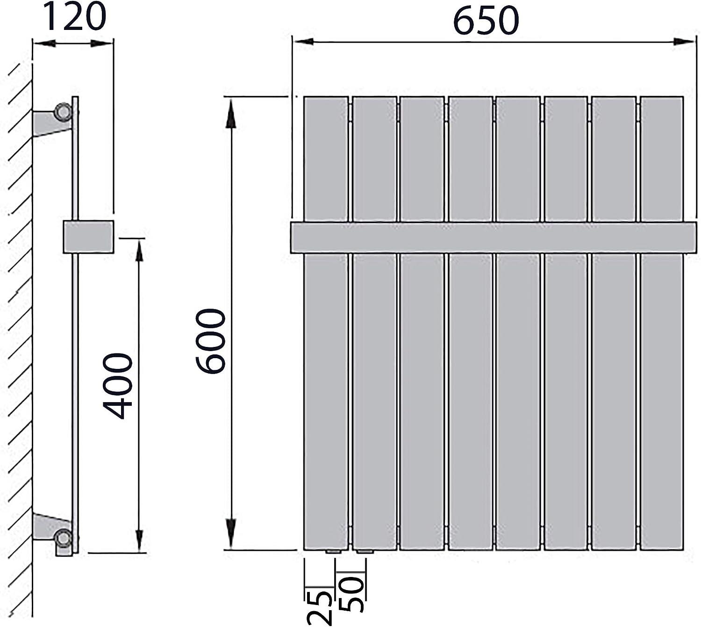 600 x 298 196 Watt nach EN442 Anschluss rechts Design Paneelheizk/örper Flachheizk/örper mit seitlichem Anschluss und 1 Handtuchstange
