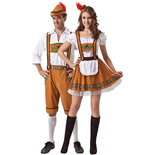 Couples Ladies AND Mens Brown German Oktoberfest Beer Festival Fancy Dress Costumes Outfits