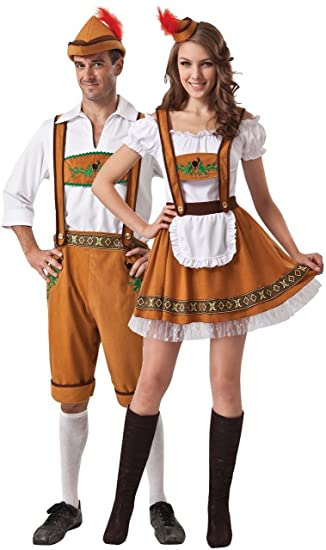 Couples Ladies and Mens Brown German Oktoberfest Beer Festival Fancy Dress  Costumes Outfits (One Size)  Amazon.co.uk  Clothing 0231cbb46