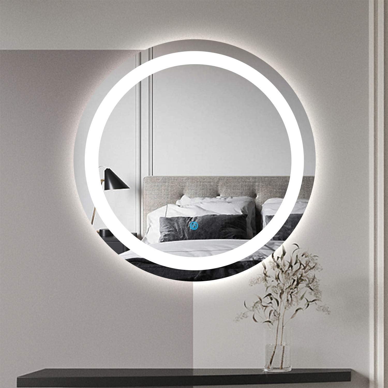 AQUABATOS LED Badspiegel Rund 60 cm Badezimmerspiegel mit Beleuchtung Dimmbare Warmwei/ß 3000K Spiegelheizung Kaltwei/ß 6400K Touch-Schalter IP44 Beschlagfrei CE
