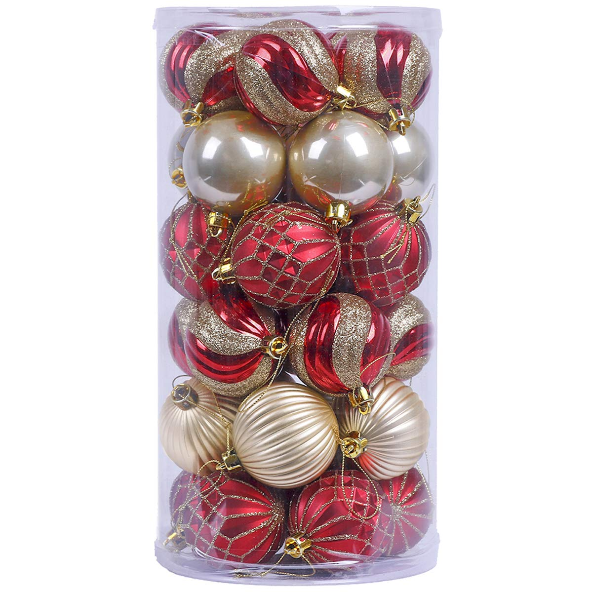 V&M VALERY MADELYN 30ct Shatterproof Christmas Ball Ornaments Decorations, 2.36inch/6CM Hanging Ornament for Christmas Holiday Or Christmas Tree Decoration with String Pre-Tied (Luxury Red and Gold)