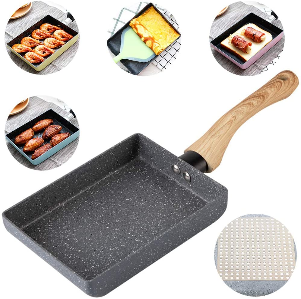 Tamagoyaki Japanese Omelette Pan/Egg Pan - Non-stick Coating - Rectangle Frying Pan Mini Frying Pan – Grey