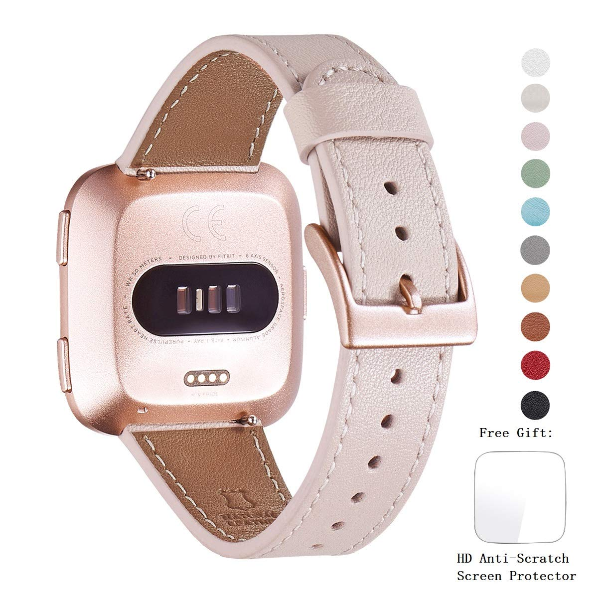WFEAGL for Fitbit Versa Bands, Top Grain Leather Band Replacement Strap for Fitbit Versa/Versa 2 /Versa Lite/Versa SE Fitness Smart Watch (Pink Sand Band+ Rosegold Buckle) by WFEAGL