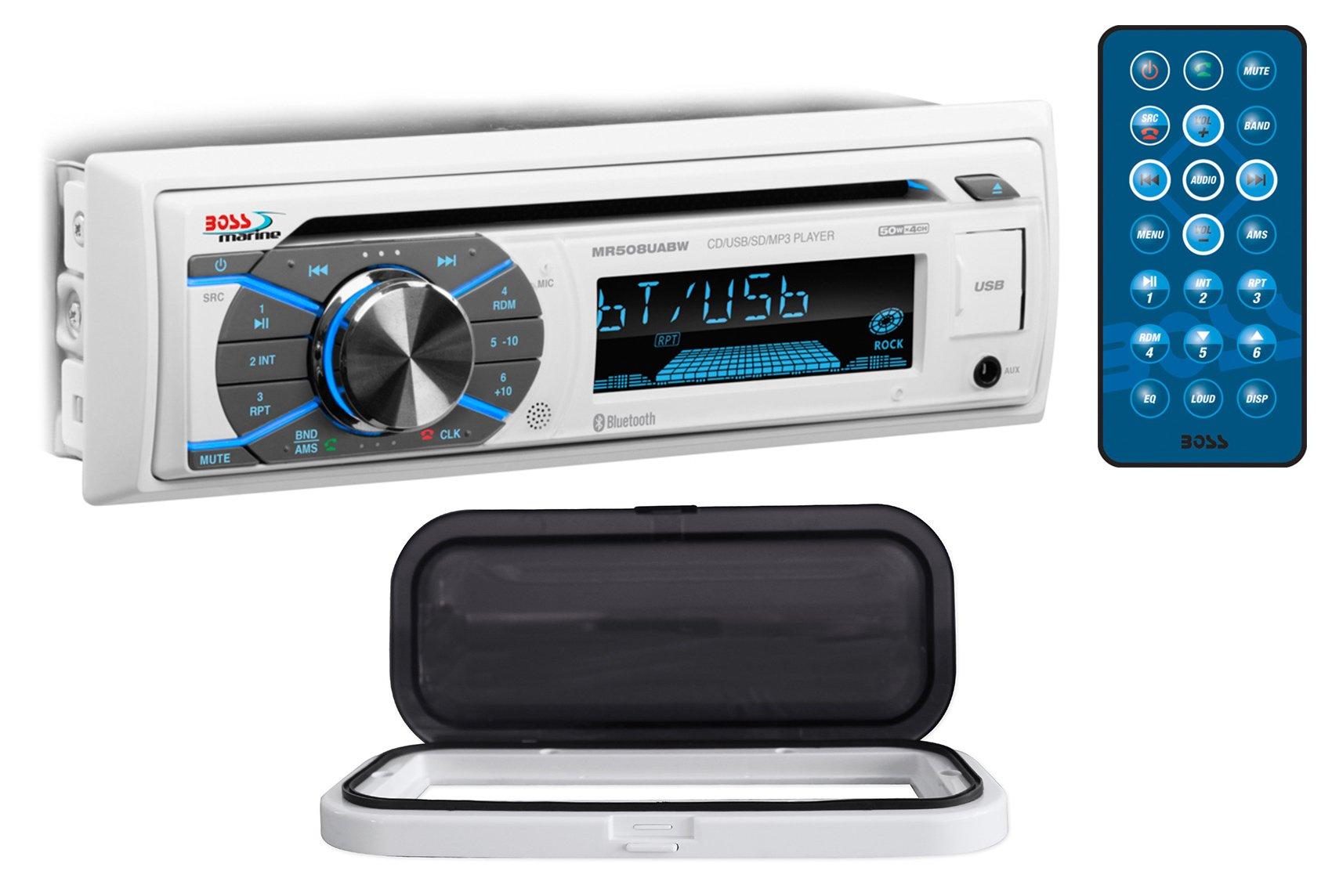 Boss MR508UABW 1-Din Marine Bluetooth Receiver MP3/CD AM/FM+Splash Guard+Remote