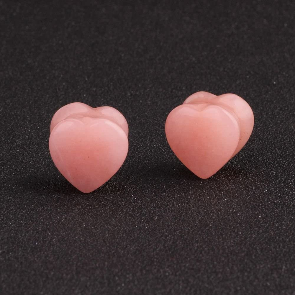 IPINK-5 Pair Organic Heart Shaped Natural Stone Saddle Plug Tunnel Ear Gauges Earring