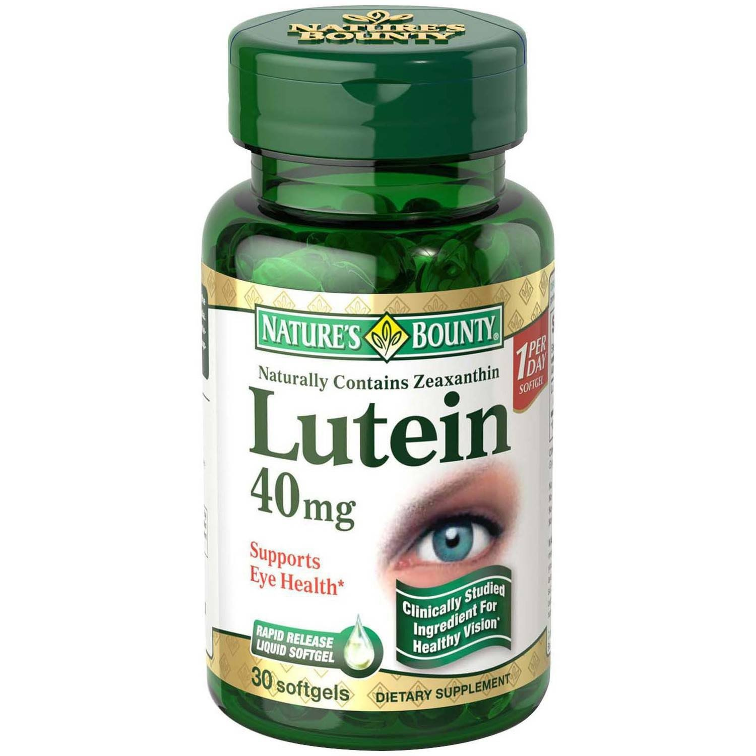 Nature's Bounty Lutein Dietary Supplement Softgels, 40mg, 30 count (6 Pack)