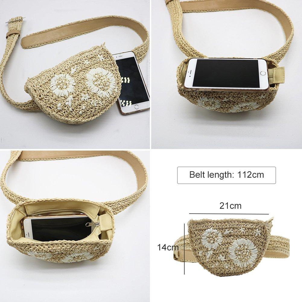 Yoome Straw Waist Bag Women Fanny Packs Handmade Belt Bag with Embroidery Flower