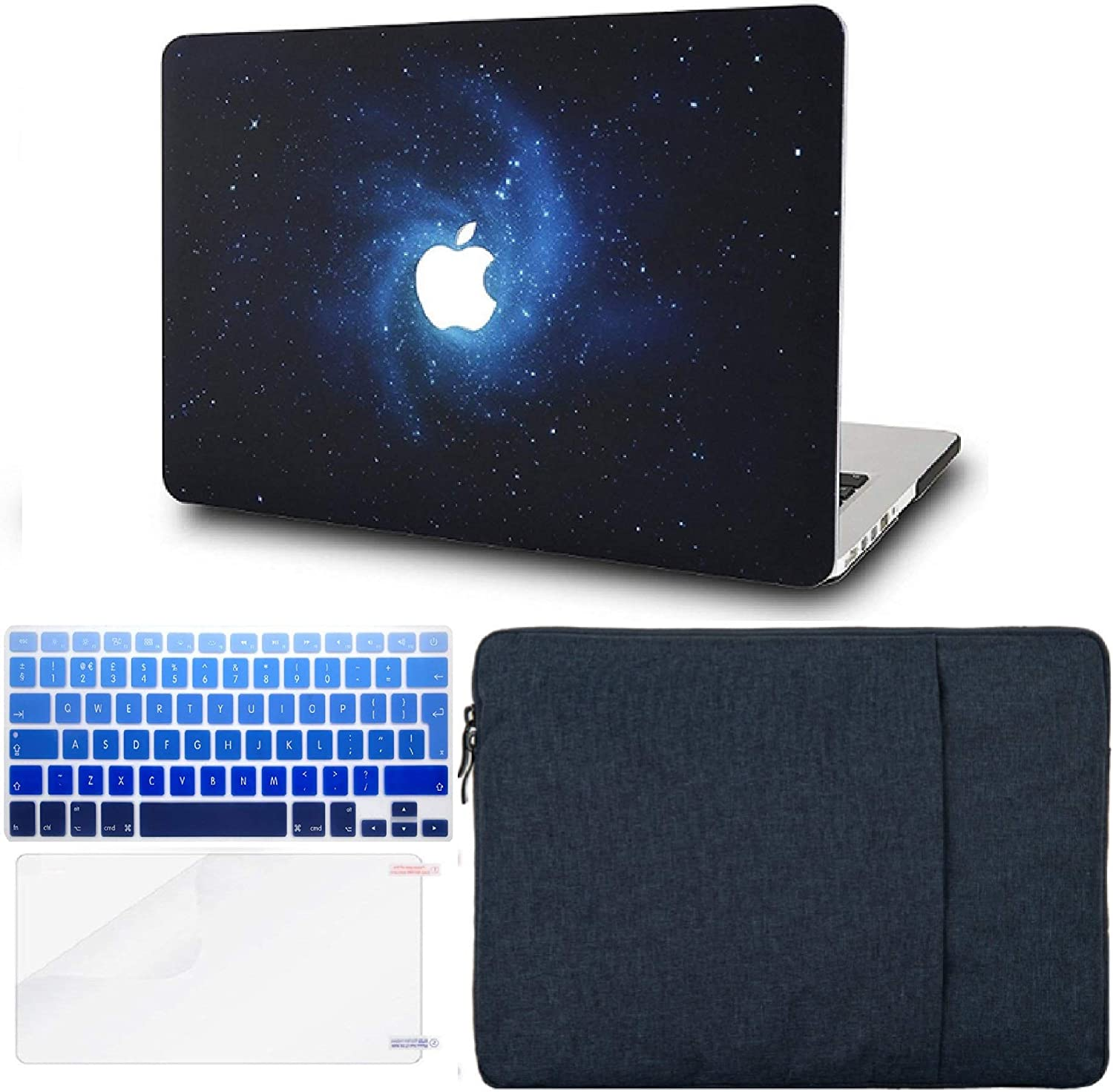 "KECC Laptop Case for MacBook Air 13"" Retina (2020/2019/2018, Touch ID) w/Keyboard Cover + Sleeve + Screen Protector (4 in 1 Bundle) Plastic Hard Shell Case A1932 (Blue)"