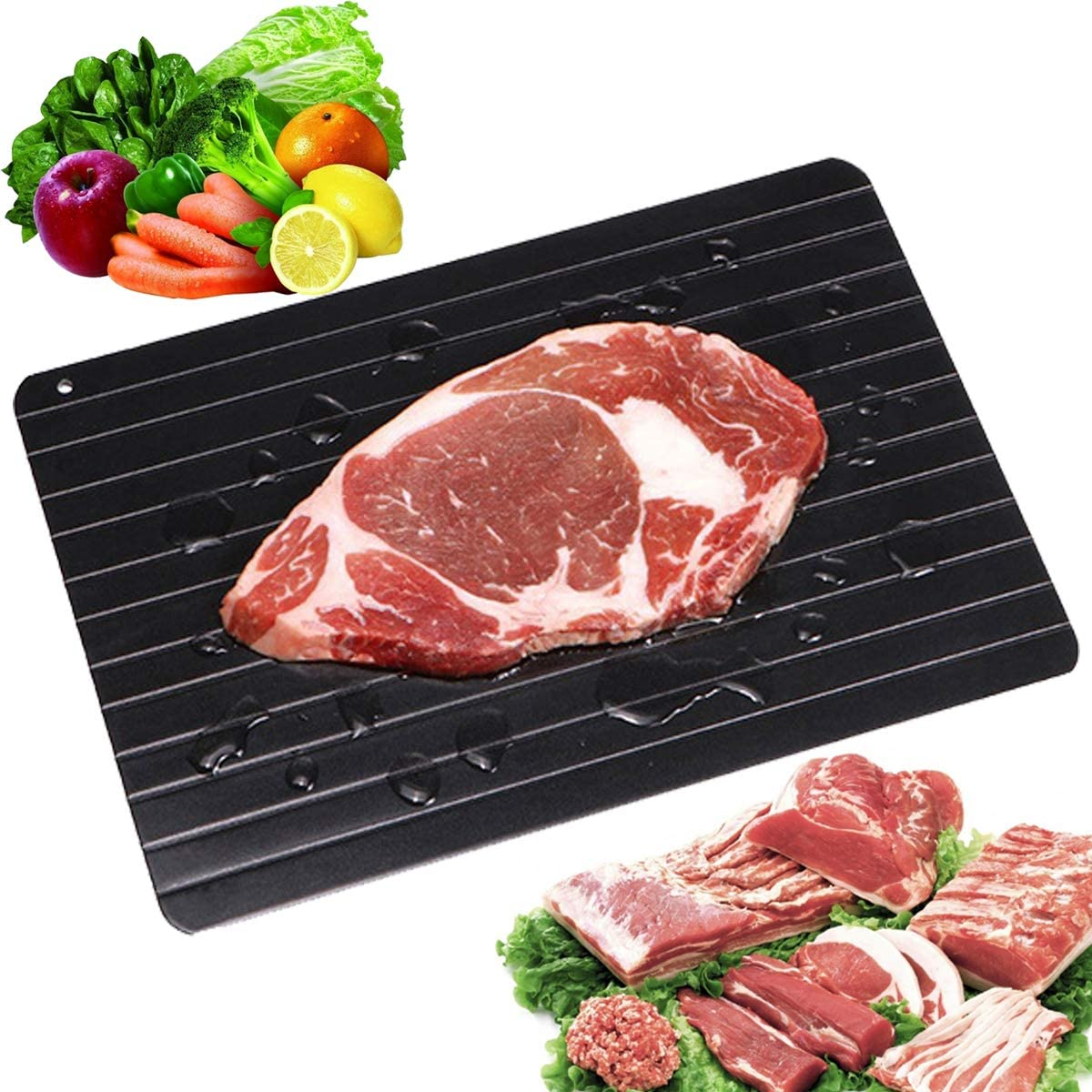 Haploon Fast Defrosting Tray, High Density Aluminum Thawing Tray for Defrosting Frozen Food,Rapid Thawing Plate for Defrost Meat Pork Beef Fish frozen foods without a Microwave or Hot Water(Black)