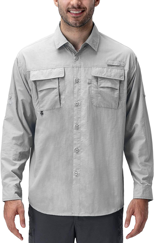 Naviskin Men's UPF 50+ Sun Protection Fishing Shirt Long Sleeve Quick Drying Lightweight Hiking Shirt Cooling