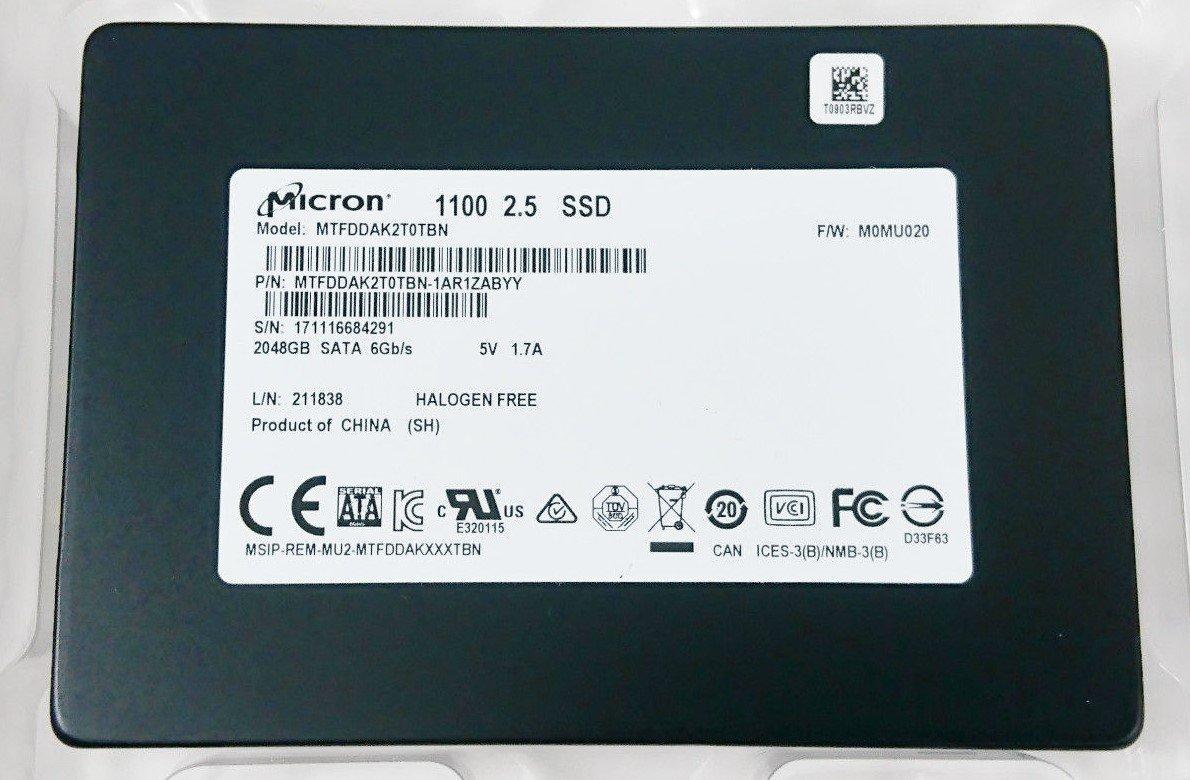 Micron 1100 MTFDDAK2T0TBN-1AR1ZABYY 2TB SATA 6Gb/s 2.5'' Solid State Drive by Micron