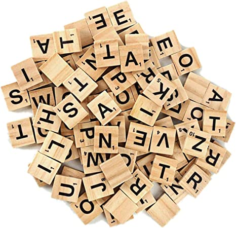 500 Scrabble Wood Tiles Pieces 5 Full Sets 100 Letters Wooden Replacement Pick