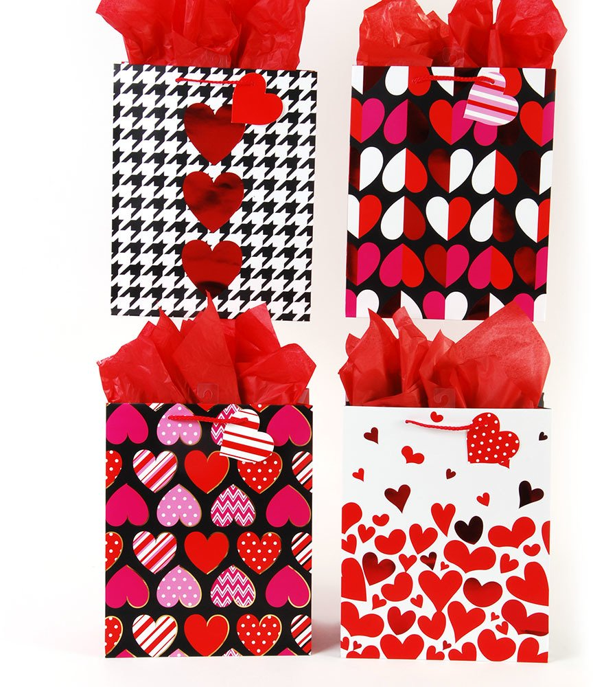 FLOMO 2130690 Valentines Day Hot Hearts Love Gift Bag - Classic Tall - Case of 144