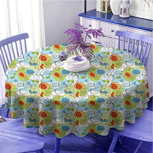 Floral Hearts Vines Cotton Linen Tablecloth Fabric